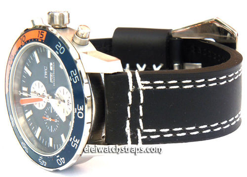 IWC Aquatimer 22mm Hand Stitches Black Leather Watch Strap Fishtail Buckle