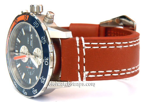 IWC Aquatimer 22mm Hand Stitches Brown Leather Watch Strap Fishtail Buckle