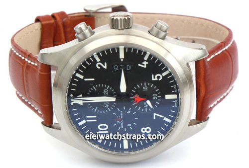 IWC Pilot Watch on 20mm Classic Light Brown Crocodile Grain Leather Watch Strap