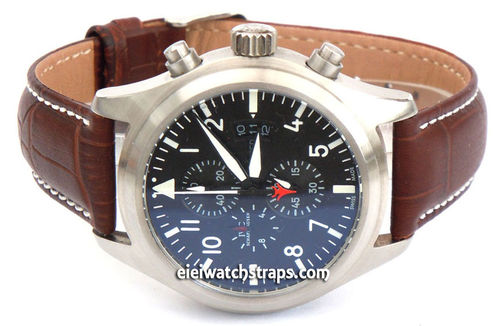 IWC Pilot Watch on 20mm Classic Light Dark Brown Crocodile Grain Leather Watch Strap