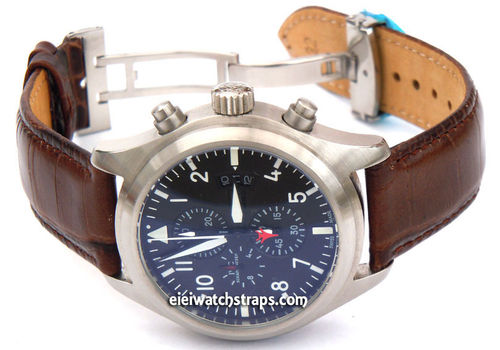 IWC Pilot Watch Crocodile Oval Grain Leather Watch Strap on Deployment Clasp