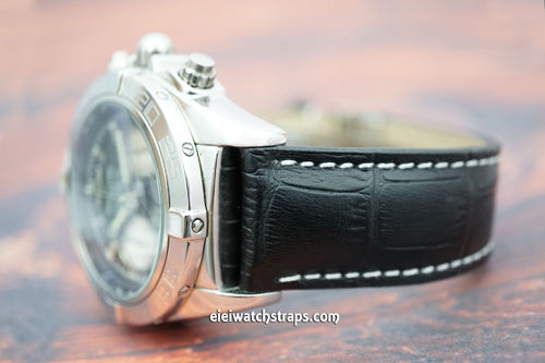 Breitling Professional Matt Black Alligator Grain Padded Leather Watch Strap