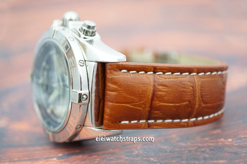 Breitling Professional Matt Brown Alligator Grain Padded Leather Watch Strap