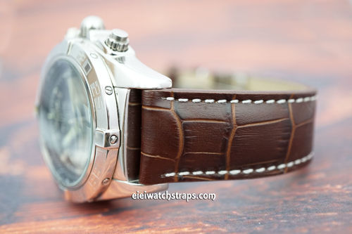 Breitling Professional Matt Dark Brown Alligator Grain Padded Leather Watch Strap