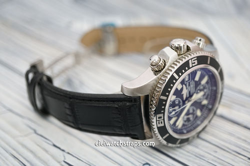 Breitling Superocean Black Crocodile Watch Strap on Deployant Clasp