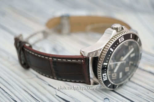 Breitling Superocean Dark Brown Crocodile Watch Strap on Deployant Clasp