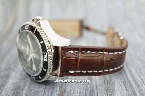 Breitling Superocean Deployment Dark Brown Crocodile Leather Strap
