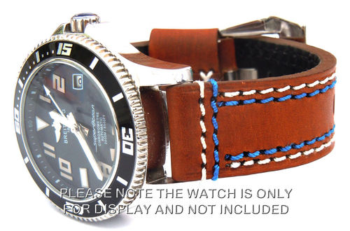 Breitling Superocean 22mm Brown Leather watch Strap Double Stitched