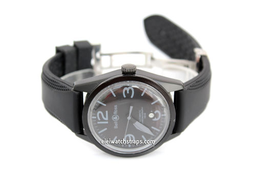 Bell & Ross 22mm Heavy Duty Silicon Rubber Divers Watch Strap on Stainless Steel Deployment