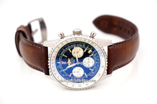 Breitling Navitimer Handmade Rustic Brown Horween Leather Watch Strap
