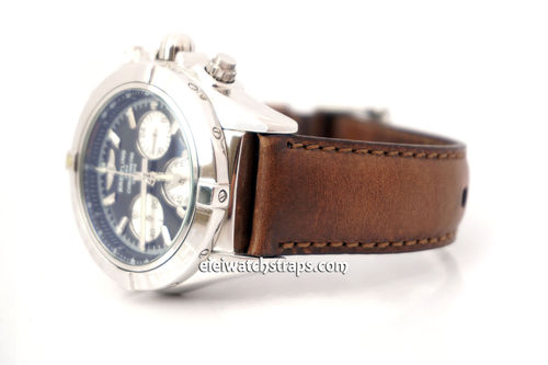 BREITLING Chronomat Handmade Rustic Brown Horween Leather Watch Strap