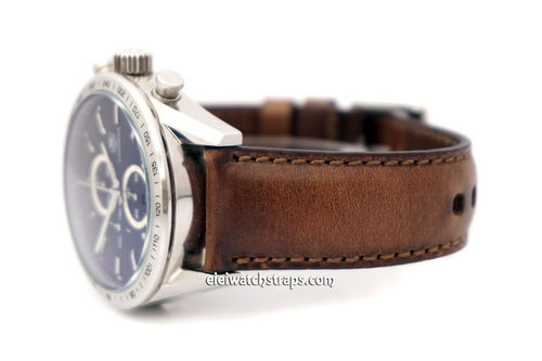 TAG Heuer Carrera Handmade Rustic Brown Horween Leather Watch Strap