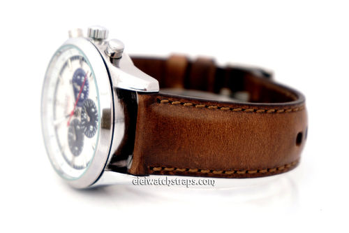 Zenith El Primero Handmade Rustic Brown Horween Leather Watch Strap