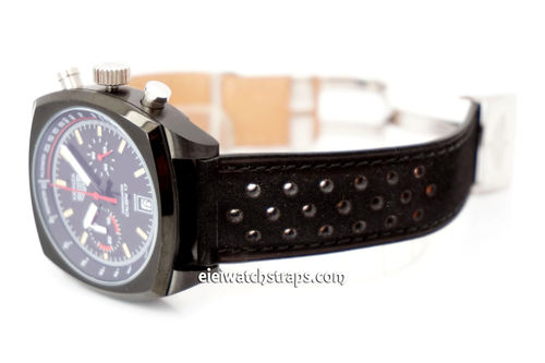 TAG Heuer Monaz Rallye Perforated Black Leather Strap