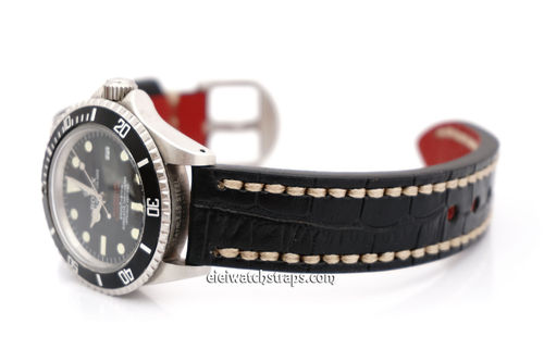 Rolex Sea-Dweller Alligator Grain Padded Leather Watch Strap White Stitching