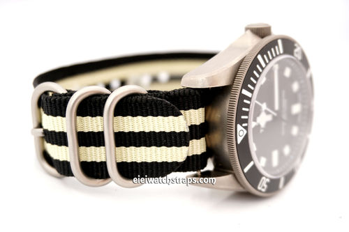 ZULU Black Cream Nylon Diver's Watch Strap Quality Heavy Duty