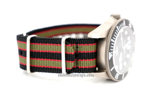 James Bond Nylon NATO Watch Strap Dark Blue with Dark Red and Dark Olive stripes