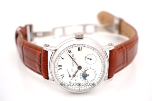 Patek Philippe Classic Brown Crocodile Grain Leather Watch Strap on Deployment Clasp