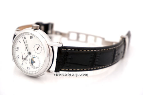 Patek Philippe Classic Black Crocodile Grain Leather Watch Strap on Deployment Clasp