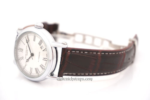 Patek Philippe Classic Dark Brown Crocodile Grain Leather Watch Strap on Deployment Clasp