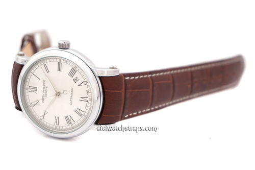 Patek Philippe 20mm Crocodile Curved lug Ended contrast white stitching Watch Strap