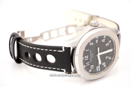 Patek Philippe Grand Prix Black Leather Watch strap on Deployment Clasp
