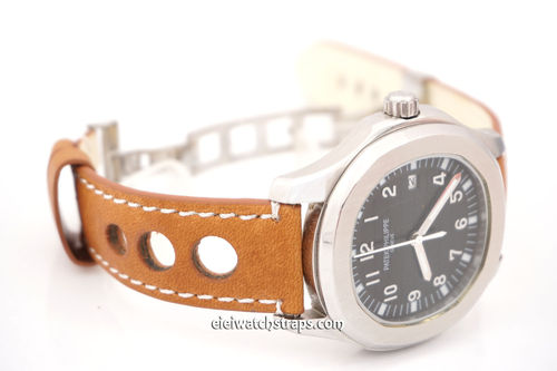 Patek Philippe Grand Prix Tan Leather Watch strap on Deployment Clasp