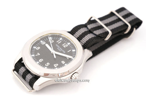 Patek Philippe Military Black Gray G10 NATO Nylon Watch strap Stainless Steel Fittings
