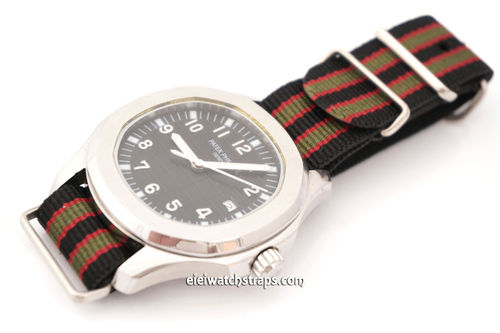 Patek Philippe James Bond Nylon NATO Watch Strap Dark Blue with Dark Red and Dark Olive stripes