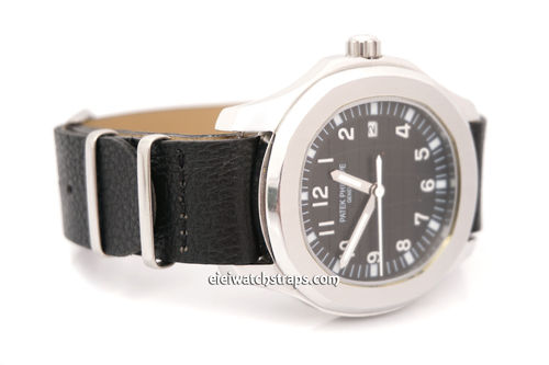 Patek Philippe NATO Black Leather Watch Strap