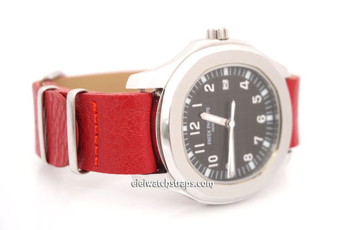 Patek Philippe NATO Red Leather Watch Strap