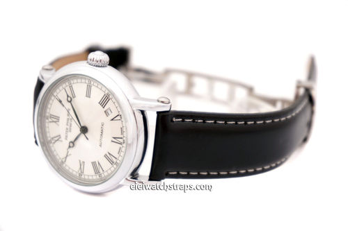 Patek Philippe Black Leather Watch Strap on butterfly deployant clasp