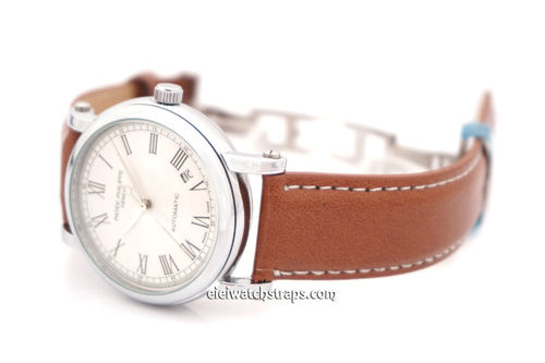 Patek Philippe Brown Leather Watch Strap on butterfly deployant clasp