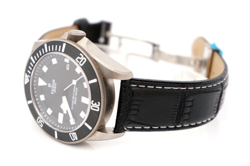 Tudor Pelagos Black crocodile watch strap white stitched on butterfly deployant clasp