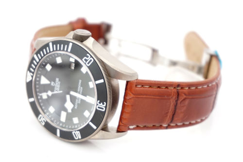 Tudor Pelagos Brown crocodile watch strap white stitched on butterfly deployant clasp