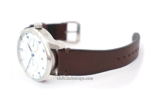 Handmade Vintage Brown Horween Watch Strap For IWC Portuguese