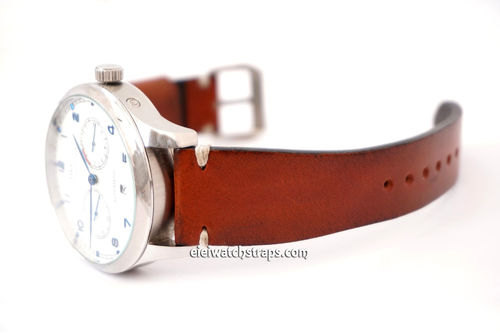Handmade Vintage Vegetable Brown Leather Tanned Watch Strap For IWC Portuguese