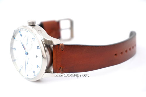 Handmade Vintage Vegetable Brown Leather Watch Strap For IWC Portuguese