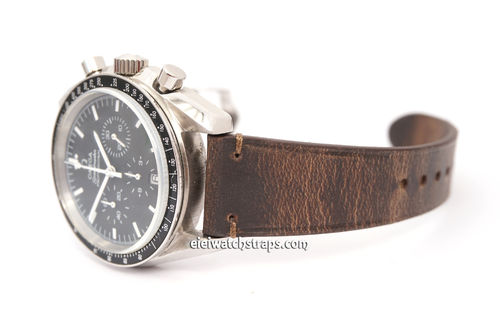 Handmade Vintage Brown Horween Rowdy Watch Strap For Omega Watches