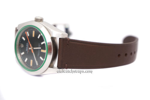 Handmade Vintage Vegetable Brown Leather Tanned Watch Strap For Rolex Watches