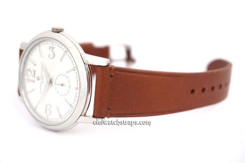 Handmade Vintage Vegetable Brown Leather Tanned Watch Strap For Vacheron Constantin