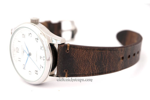 Handmade Vintage Brown Horween Rowdy Watch Strap For Longines Watches