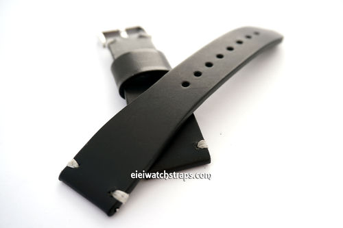 Handmade Vintage Racing Black Leather Watch Strap White Stitching