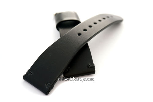 Handmade Vintage Racing Black Leather Watch Strap Black Stitching