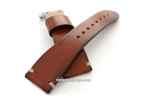 Handmade Vintage Racing Brown Leather Watch Strap White Stitching