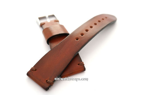Handmade Vintage Racing Brown Leather Watch Strap Brown Stitching