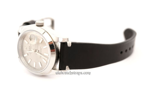 Handmade Vintage Racing Black Leather Watch Strap White Stitching For Rolex Watches