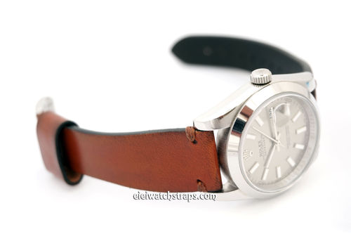 Handmade Vintage Racing Brown Leather Watch Strap For Rolex Watches