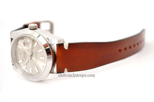 Handmade Vintage Racing Brown Leather Watch Strap White Stitching For Rolex Watches