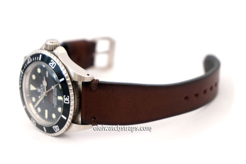 Handmade Vintage Racing Dark Brown Leather Watch Strap For Rolex Watches